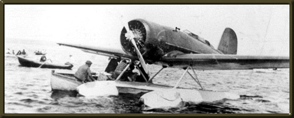 [Lindbergh's plane in Botwood harbour]